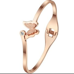 Rose gold butterfly bracelet.